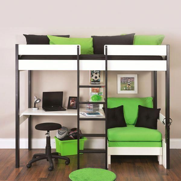 Bunk Beds Stompa Uno Wooden High Sleeper With Futon Chair Click 4 Bunkbeddesigns