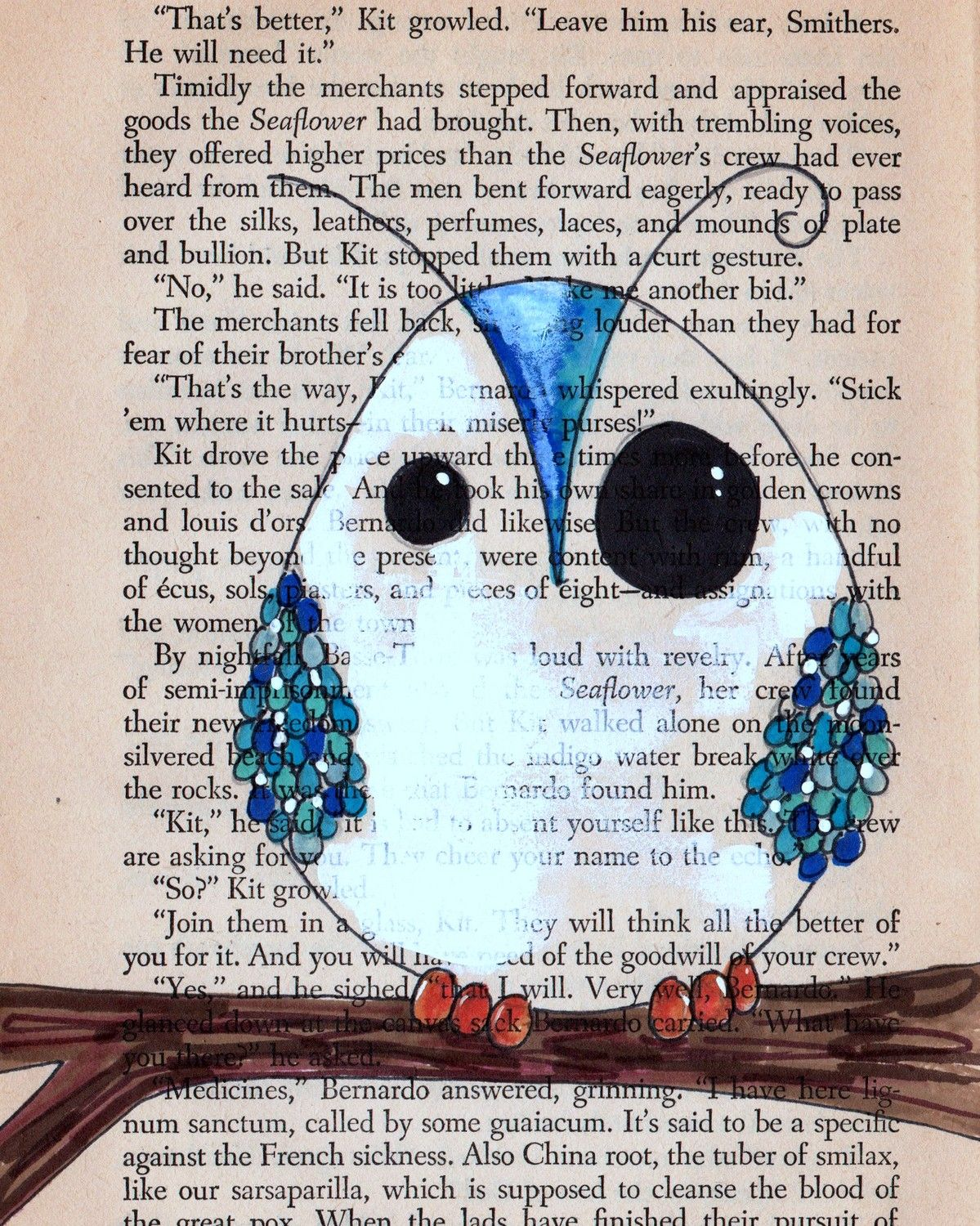Owl custom drawing on old book page- own your own one of a kind owl on paper - eco / green / recycled / fantastic. $36.00, via Etsy.