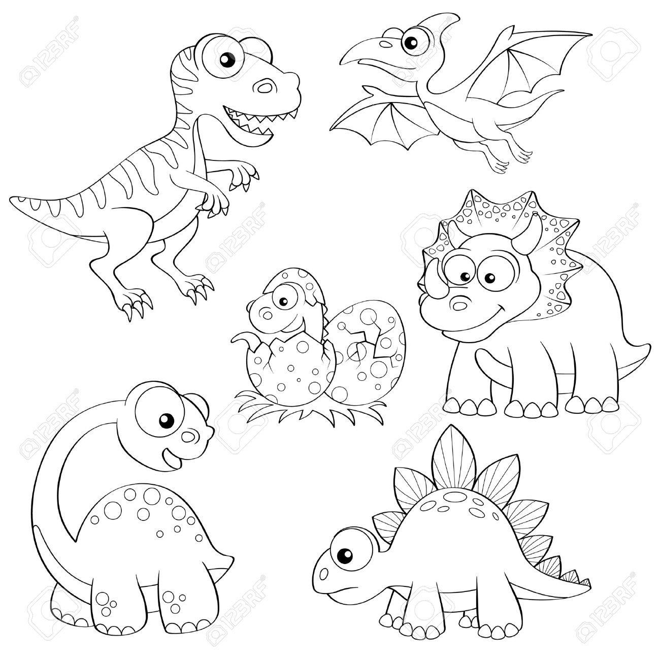 Conjunto de dinosaurios de dibujos animados. Ilustración en blanco y negro para colorear