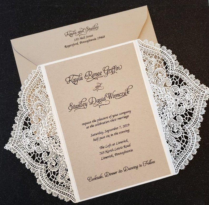 Lace Wedding Invitation Rustic Lace Wedding Invitation