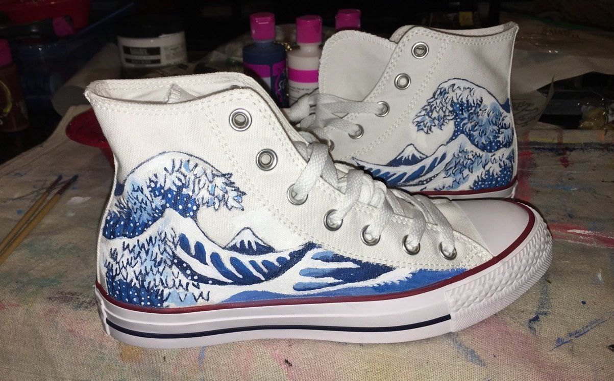 The Great Wave off Kanagawa hand painted onto converse high