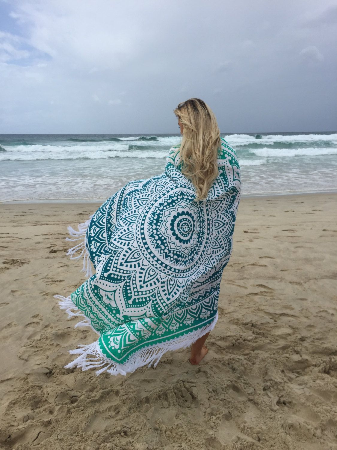 Soft Cotton Light Weighted Sea Green Ombre Mandala Roun Beach Throw To Add Extra Fun Your Party Shipping Worldwide Usa Uk Canada