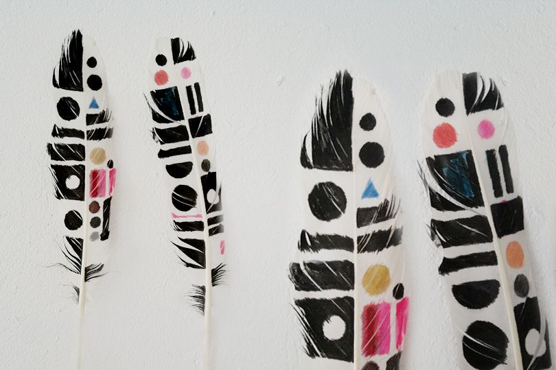 Decorated white feathers