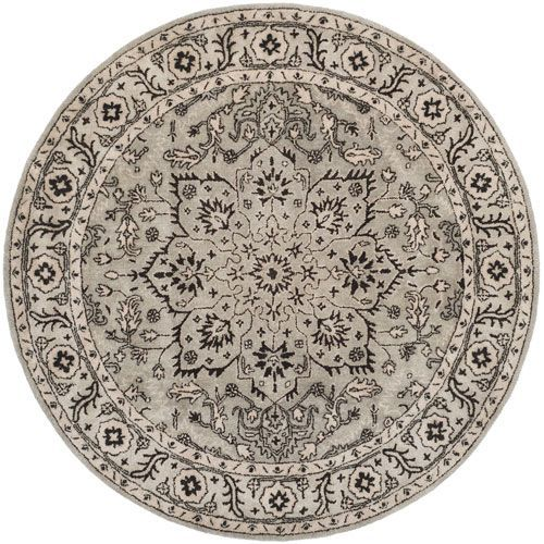 Antiquity Gray and Beige Round: 6 Ft. x 6 Ft. Rug