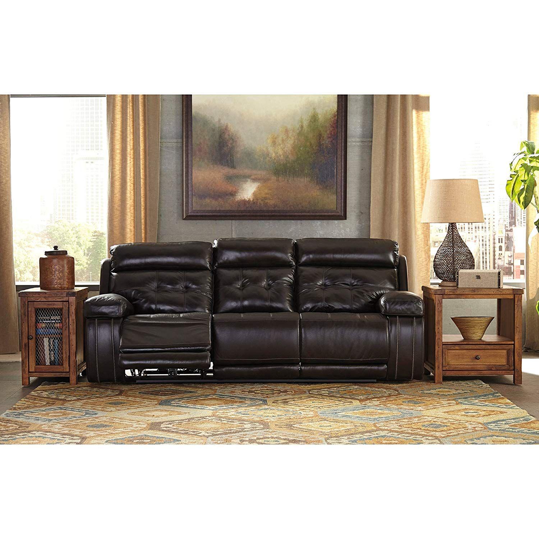 Ashley Furniture Signature Design Graford Leather Power Sofa W Adjustable Headrest Power Reclining Loveseat Power Reclining Sofa Ashley Furniture Living Room
