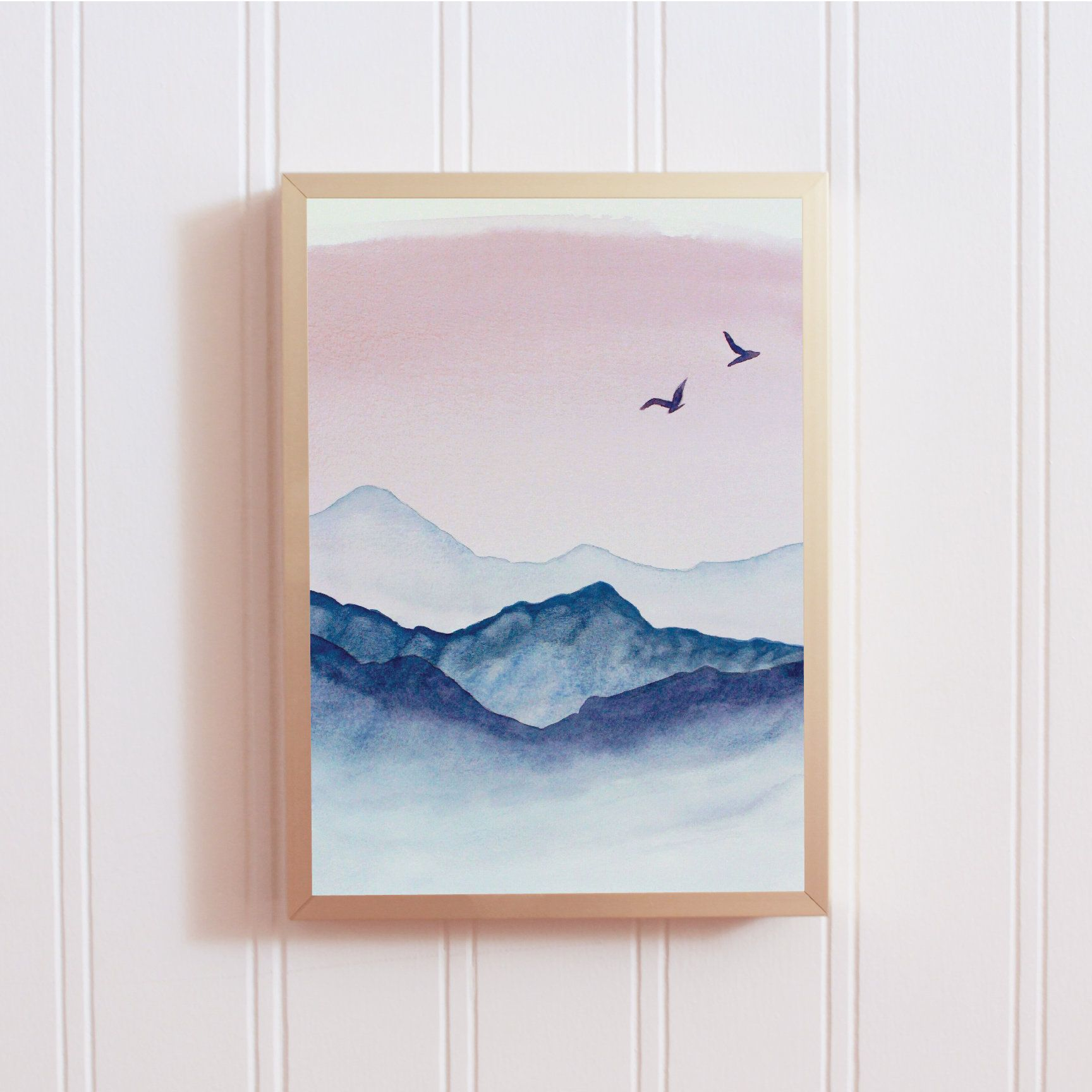Bird Nursery Art Love Birds Painting Birds Print Pastel