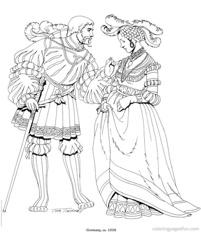 Renaissance Costumes and Clothing Coloring Pages 24 | Coloring ...