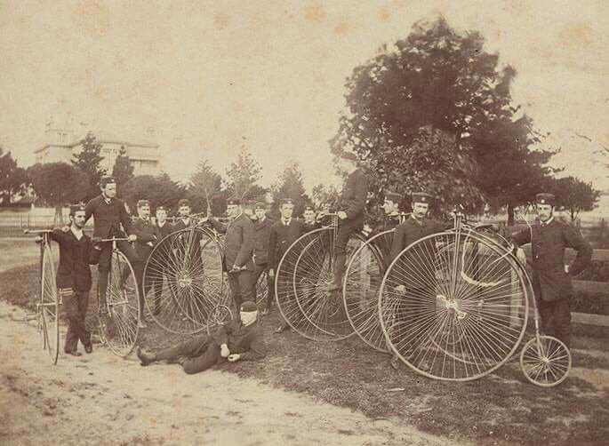 The Melbourne Bicycle Club in 1878 soon after its ...