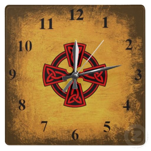 Red Celtic Cross Aged Wall Clock
