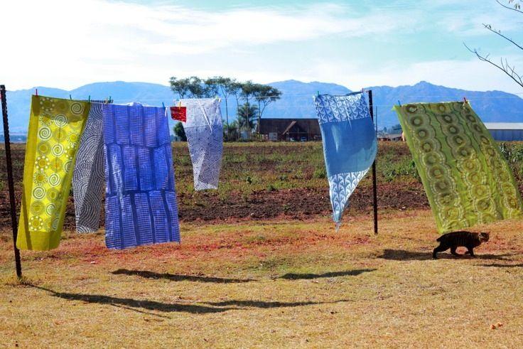 Finished block-printed fabrics! (photo credit Henrique Wilding)