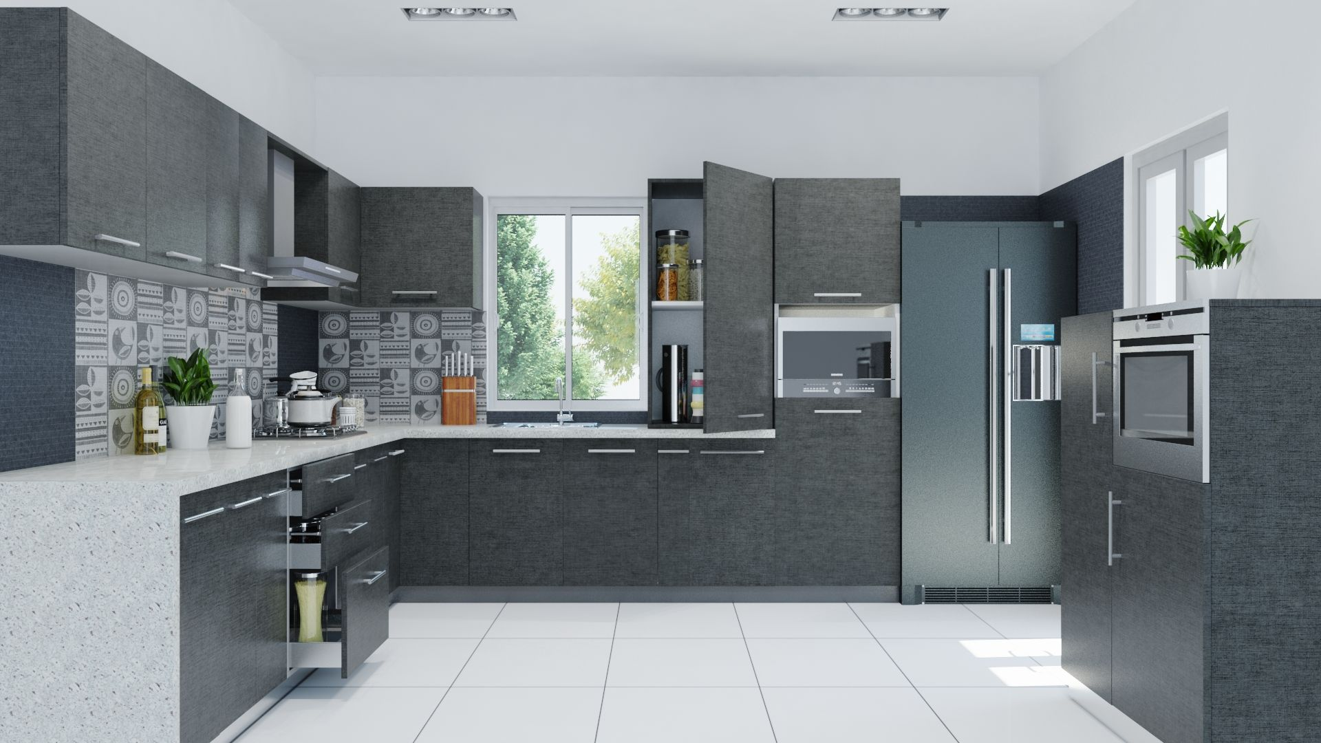 Kitchen grey modern kitchen cabinet white ceramic tile floor modern refrigerator accent Modern kitchen design tiles