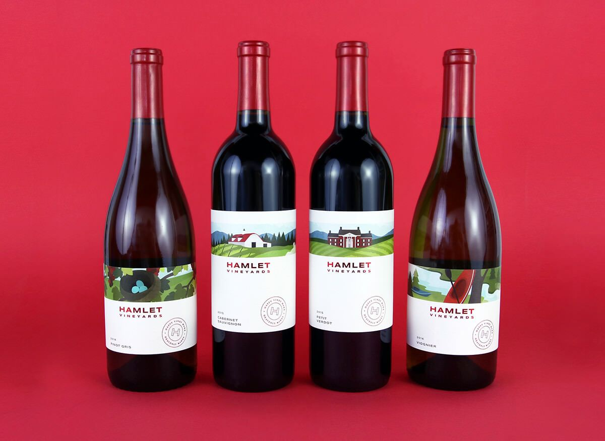 Hamlet Vineyards Label Design By Watermark Design Casual Fun Friendly Classy Brand Design Colorful Virginia Winery Vawine Red Capsule Modern Minima