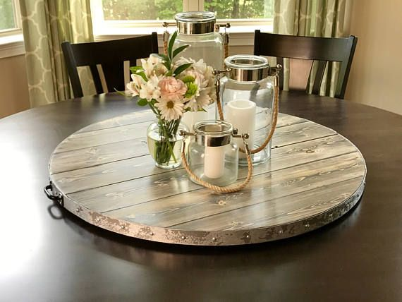 Wine Barrel Rustic Metal Banding Wood Lazy Susan Reclaimed Or Distressed Wood Sizes 18 And Up Yes We Ship Canada And International Table Centerpieces For Home Dining Table Centerpiece Dining Room