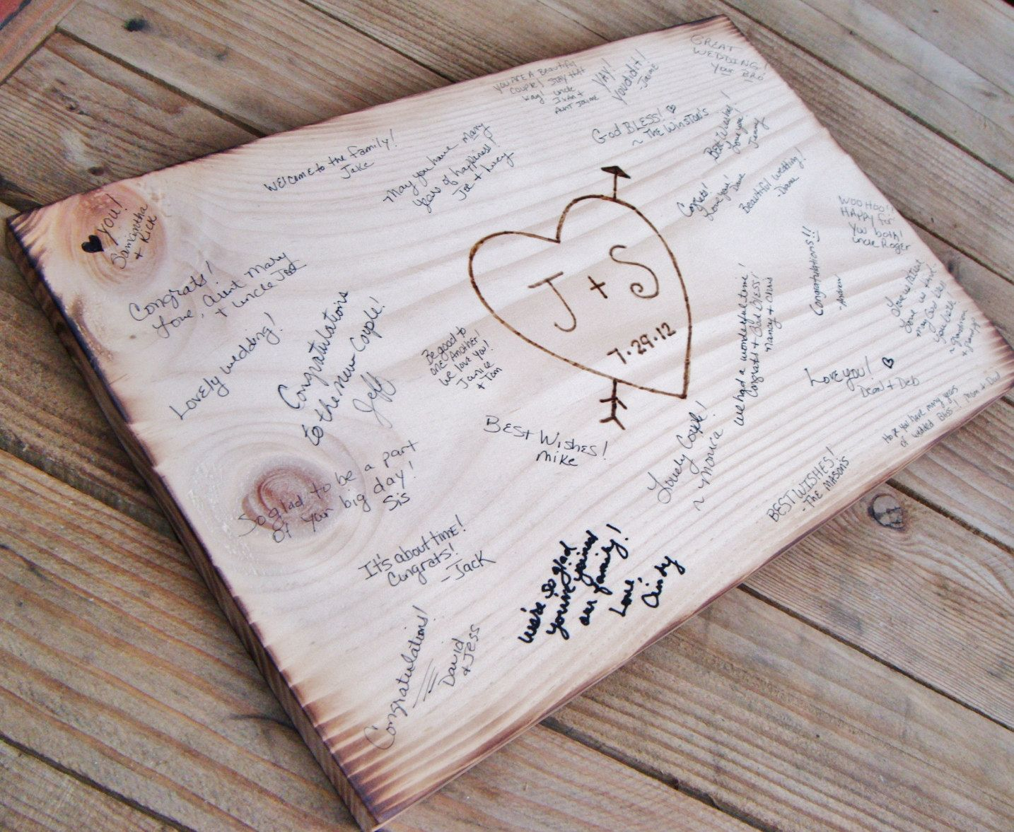 Rustic Wedding Guest Book Alternative Sign Wood Burned Heart W Initials Date Have Leave Words Of Wisdom Wit Love Then Hang In Your