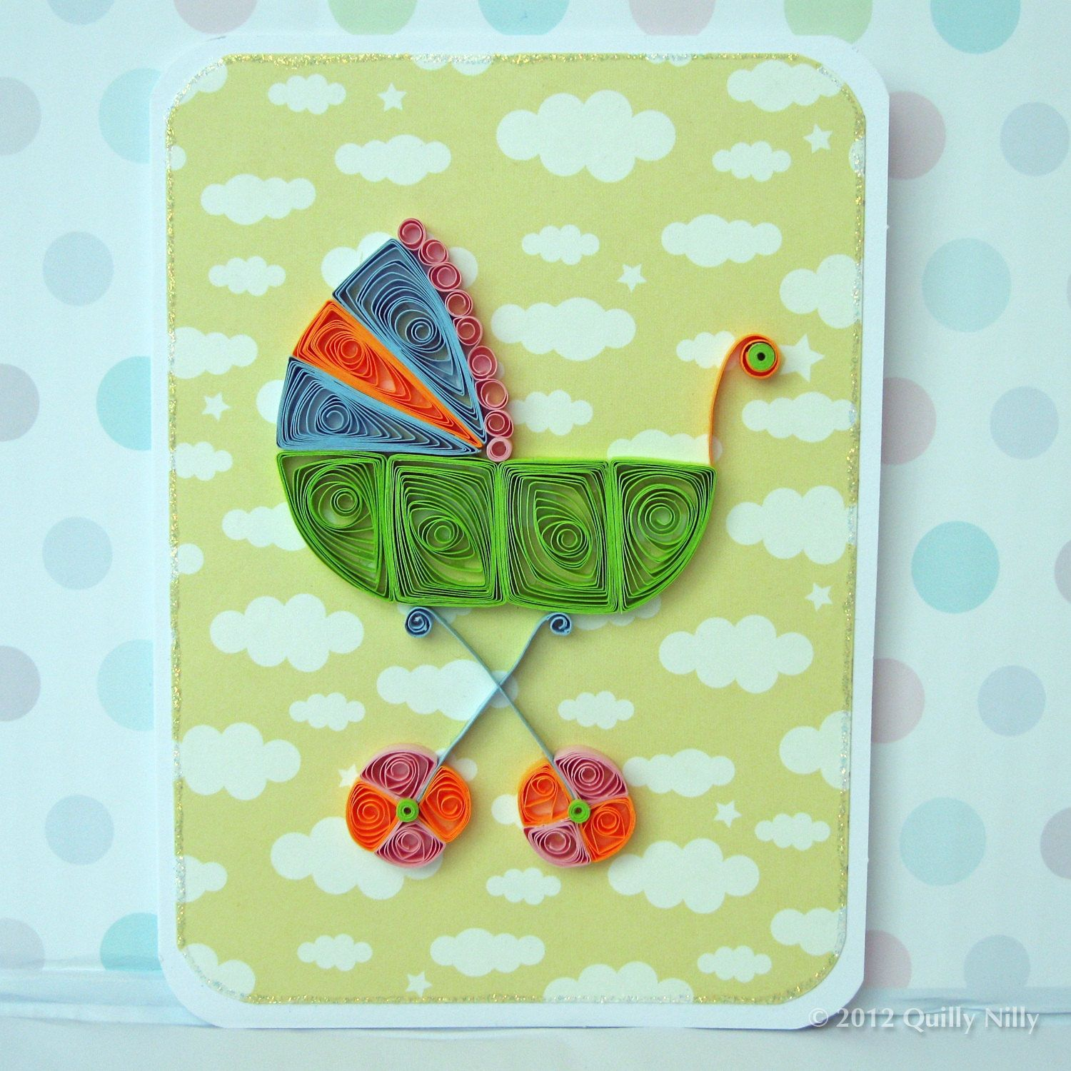 Paper Quilled Baby Carriage Card