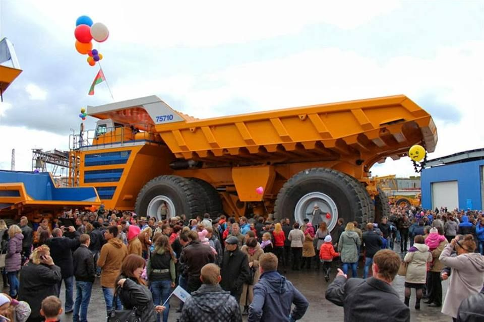 The BelAZ 75710 has the weight capacity to carry the equivalent of 100 African Elephants!