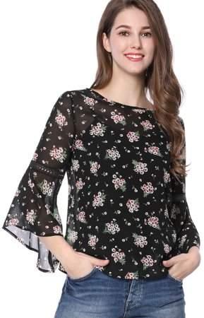 7b30283e6f36 Unique Bargains Women 3/4 Bell Sleeve Floral Print Chiffon Blouse w Cami  Black XL