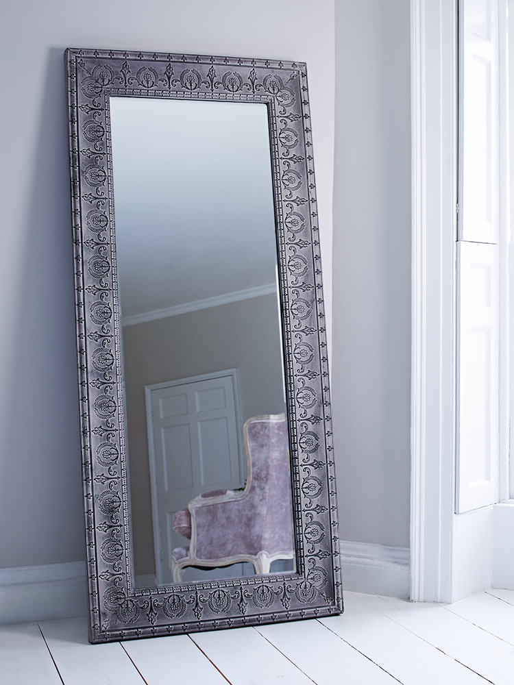 beautifully embossed from steel with a rustic finish this large full length mirror makes the. Black Bedroom Furniture Sets. Home Design Ideas