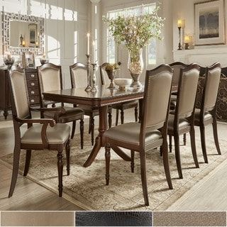 Lasalle Espresso Nail Head Accent Transitional Dining Side Chairs Classy Dining Room Head Chairs Inspiration