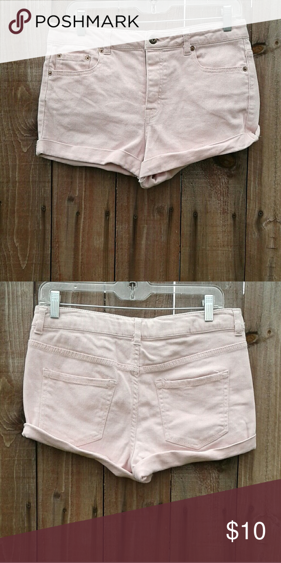 PINK JEAN SHORTS CUFFED PINK SHORTS Forever 21 Shorts