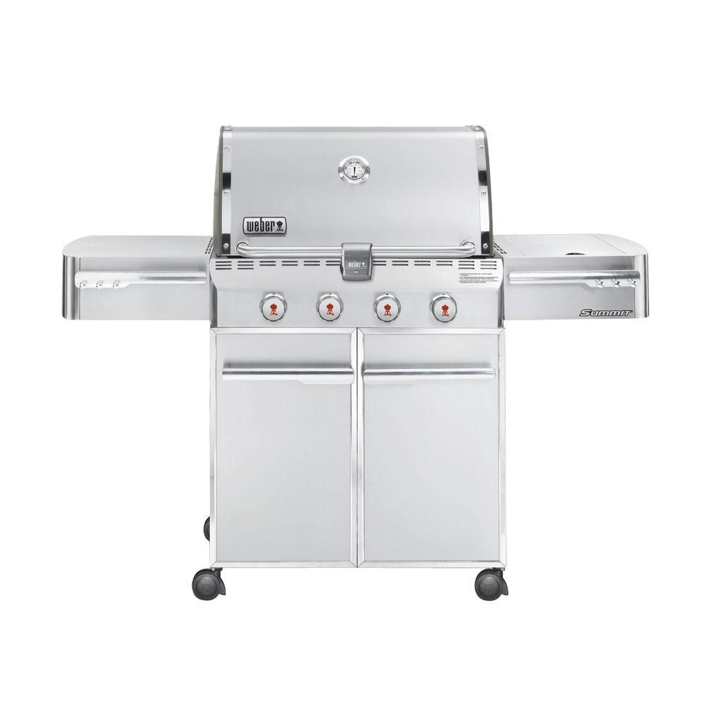 Weber Summit S 420 4 Burner Propane Gas Grill In Stainless Steel 7120001 The Home Depot Gas Grill Propane Gas Grill Grilling