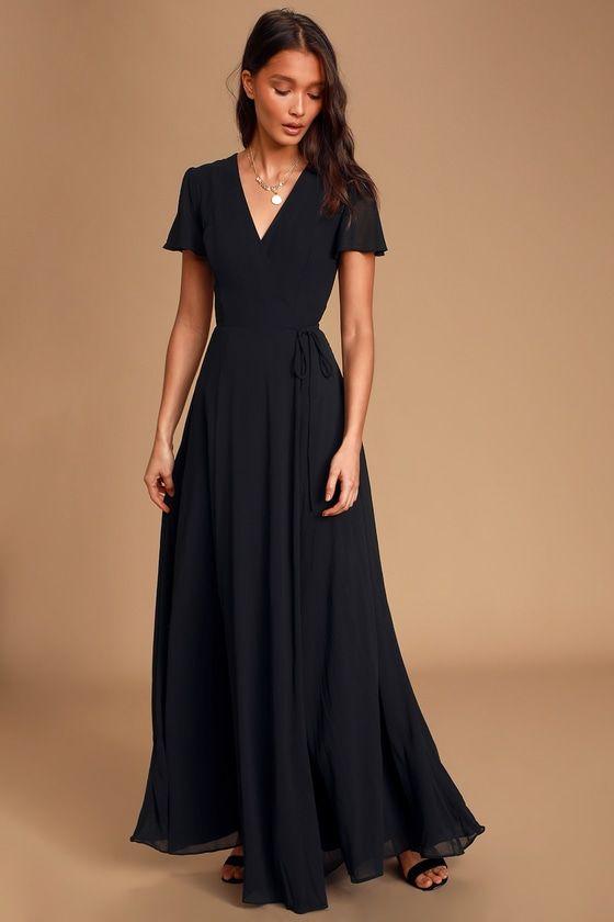 You're My Everything Black Short Sleeve Wrap Maxi Dress – Mod and Retro Clothing