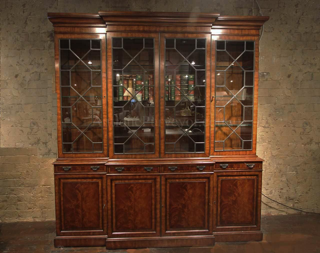 86fee2dca502f Large antique reproduction mahogany china cabinet with lights