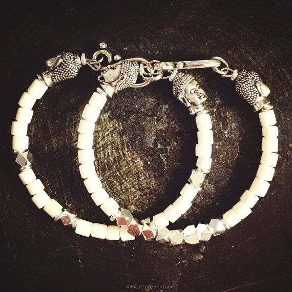 Good karma bracelet  White bone w/silver 1 pair by HippiInn, kr289.00