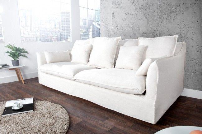 3er Hussensofa Leinenbezug 215cm Riess Ambiente De Sofa Weiss 3er Sofa Sofa