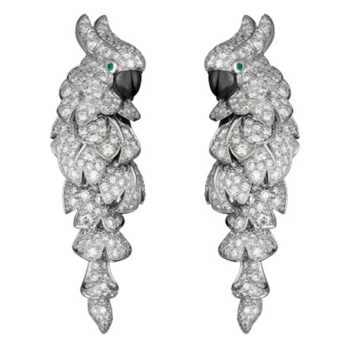 8d4c52957682 Cartier Fauna and Flora Diamond Gold Parrot Earrings. CARTIER Fauna   Flora  Parrot décor Earrings