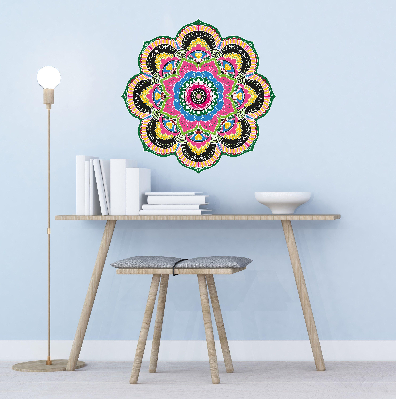 Rainbow Wall Decals Mandala Decal Flower Sticker Murals