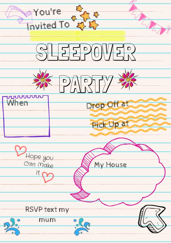 Sleepover Party Invite #sleepoverparty #sleepoverparty
