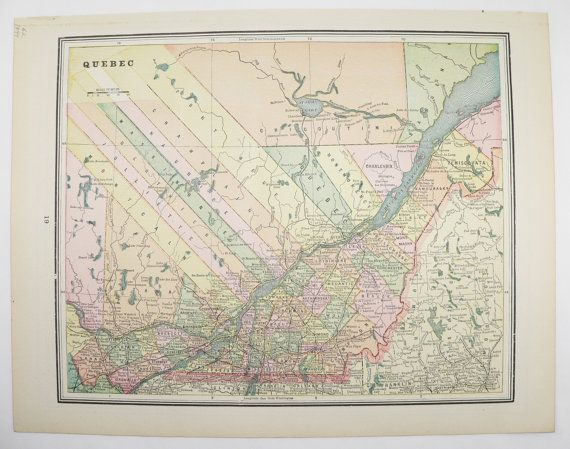 Antique Map of Ontario Canada  Quebec Canada Map 1894 Vintage Map     Antique Map of Ontario Canada  Quebec Canada Map 1894 Vintage Map  Canadian  Travel Map  Great lakes Region  Wedding Decor Prop available from