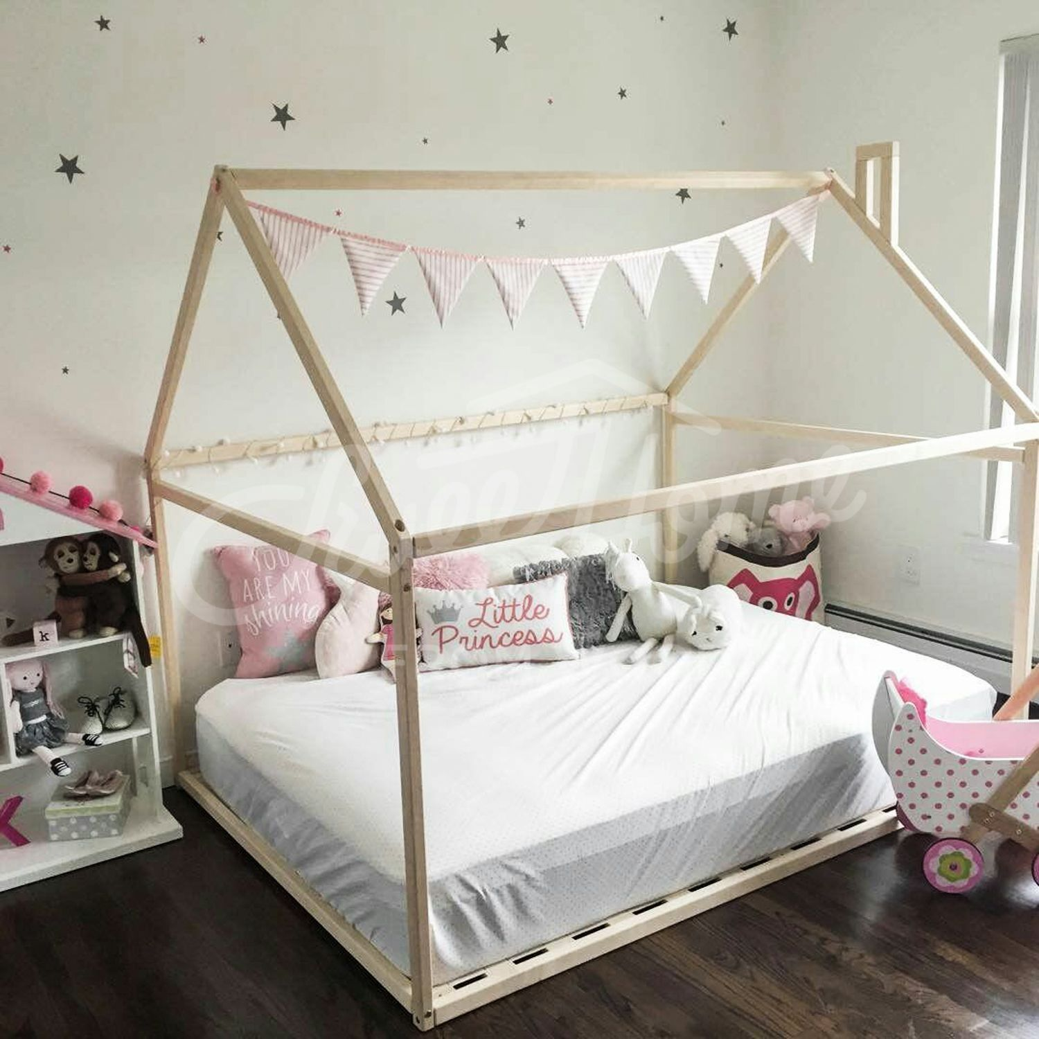 Wood Bed Full Double Toddler Bed Frame Tent Bed Wooden Etsy House Frame Bed Toddler Bed Frame Bed Tent