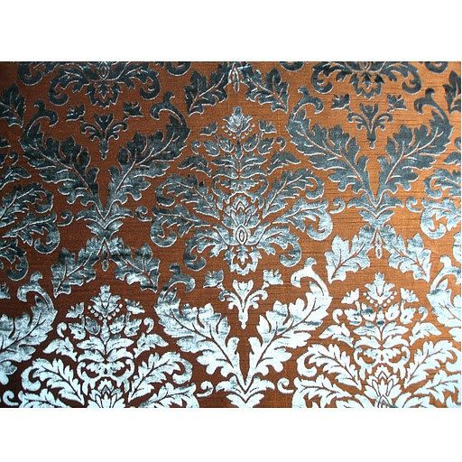 Turquoise damask burnout velvet on fancy fabric