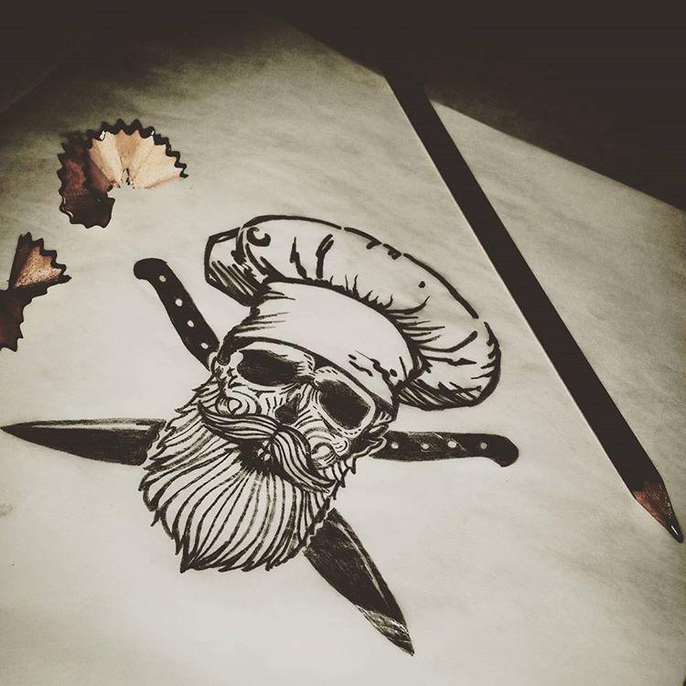 pr ximo tatuaje muero por cocinar tattoos tattooarms skulltattoo skull beard. Black Bedroom Furniture Sets. Home Design Ideas