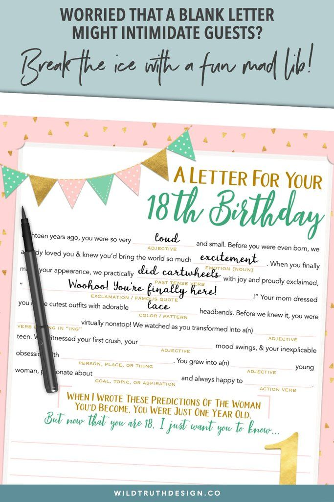 Girl's First Birthday Time Capsule Letter Printable Mad
