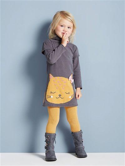 Mädchen Strickkleid mit Katzen-Motiv DUNKELBRAUN+HONIG