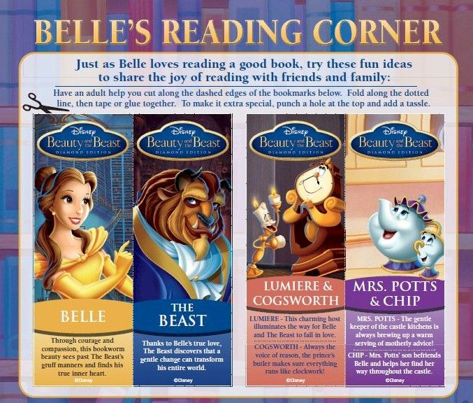 Beauty And The Beast Printable Bookmarks Beauty And The Beast