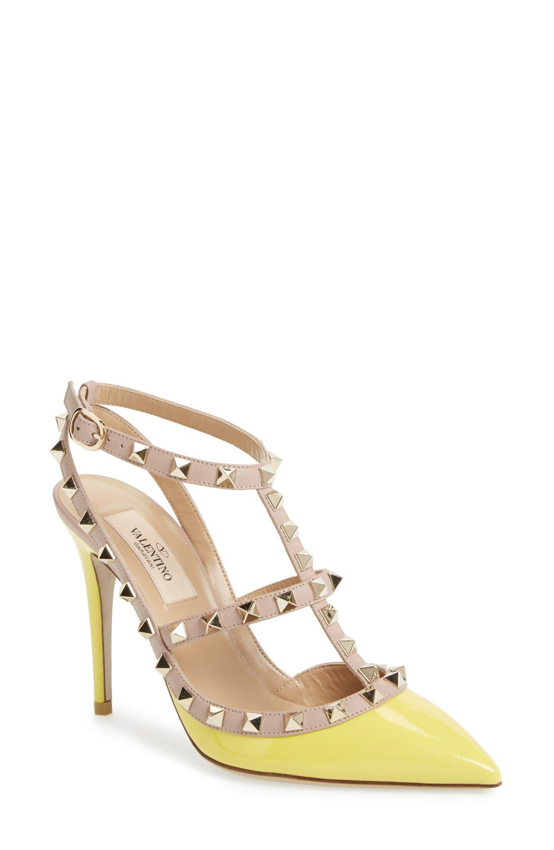 ec7c7b375f3 These yellow Valentino  Rockstud  t-strap leather pumps are on the spring  wish list!