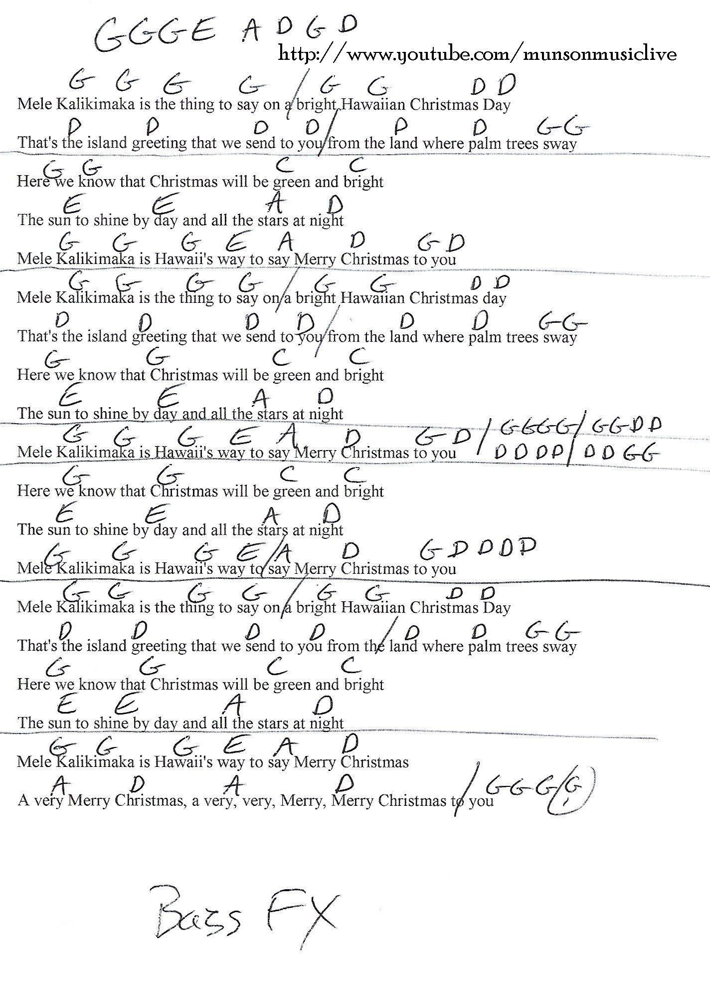 Mele Kalikimaka Guitar Chord Chart In G Guitar Lessons