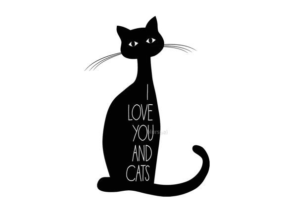 I love you and cats - Printable card, funny card, cat lover card - anniversary printable cards