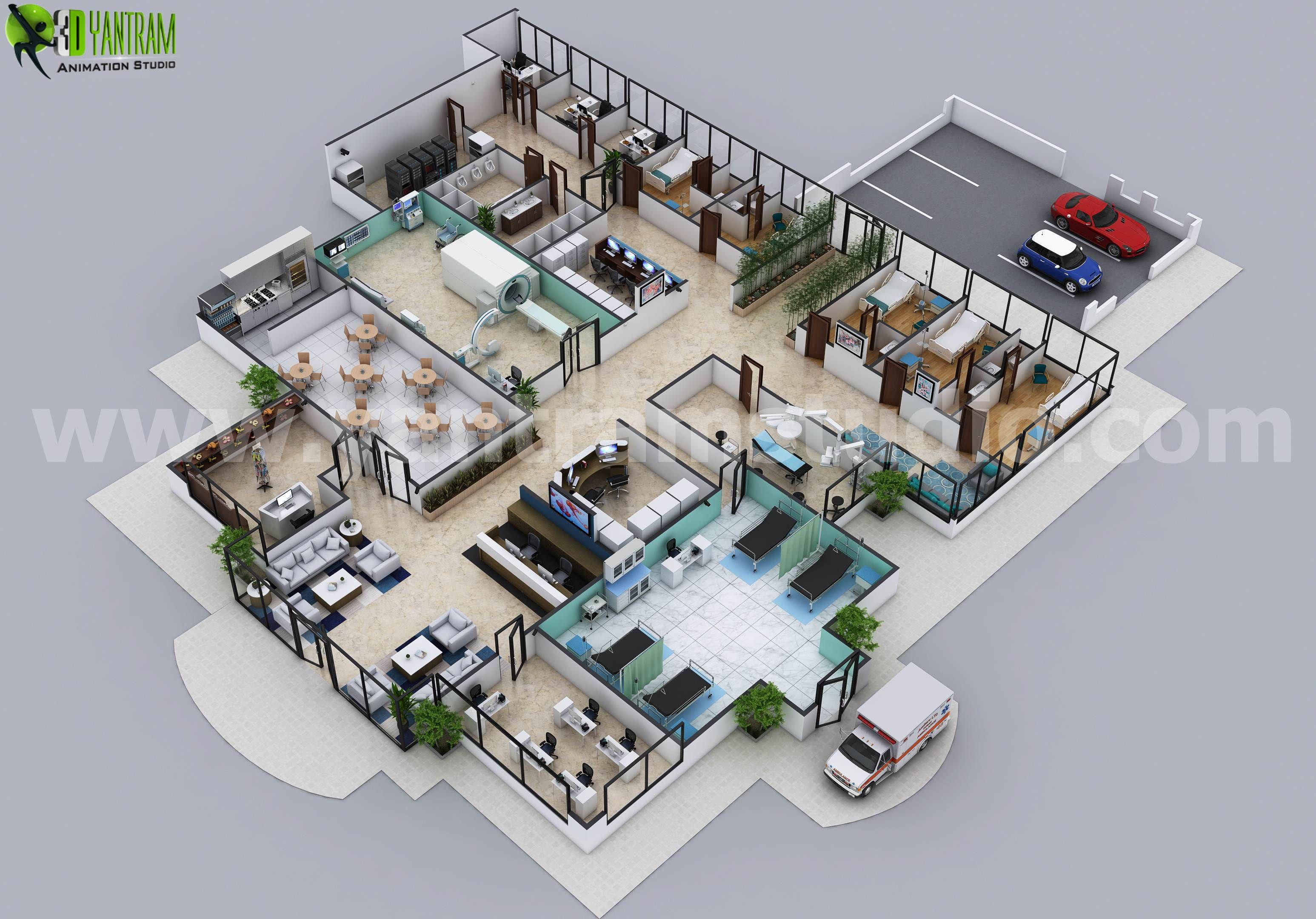Hospital Floor Plan Concept Design By Yantram Architectural