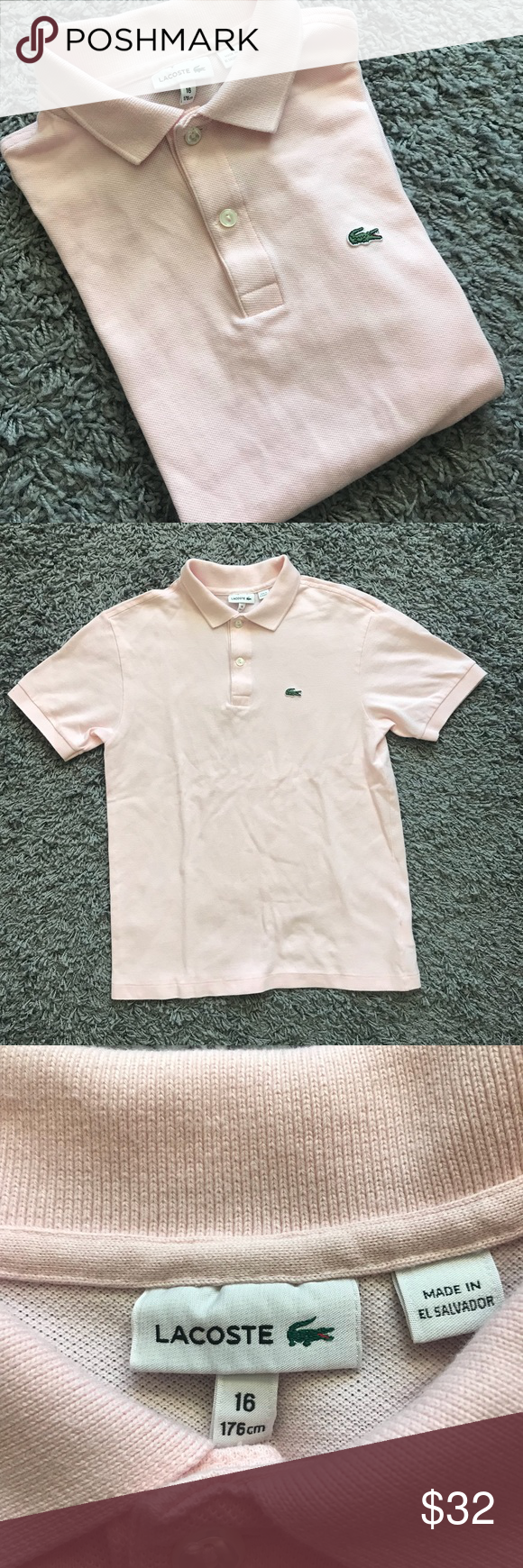 Womens Lacoste Pink Alligator Logo Polo Shirt 16 Lacoste Pink