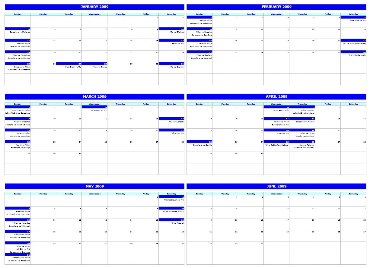 6 month calendar template on one page printable calendar template