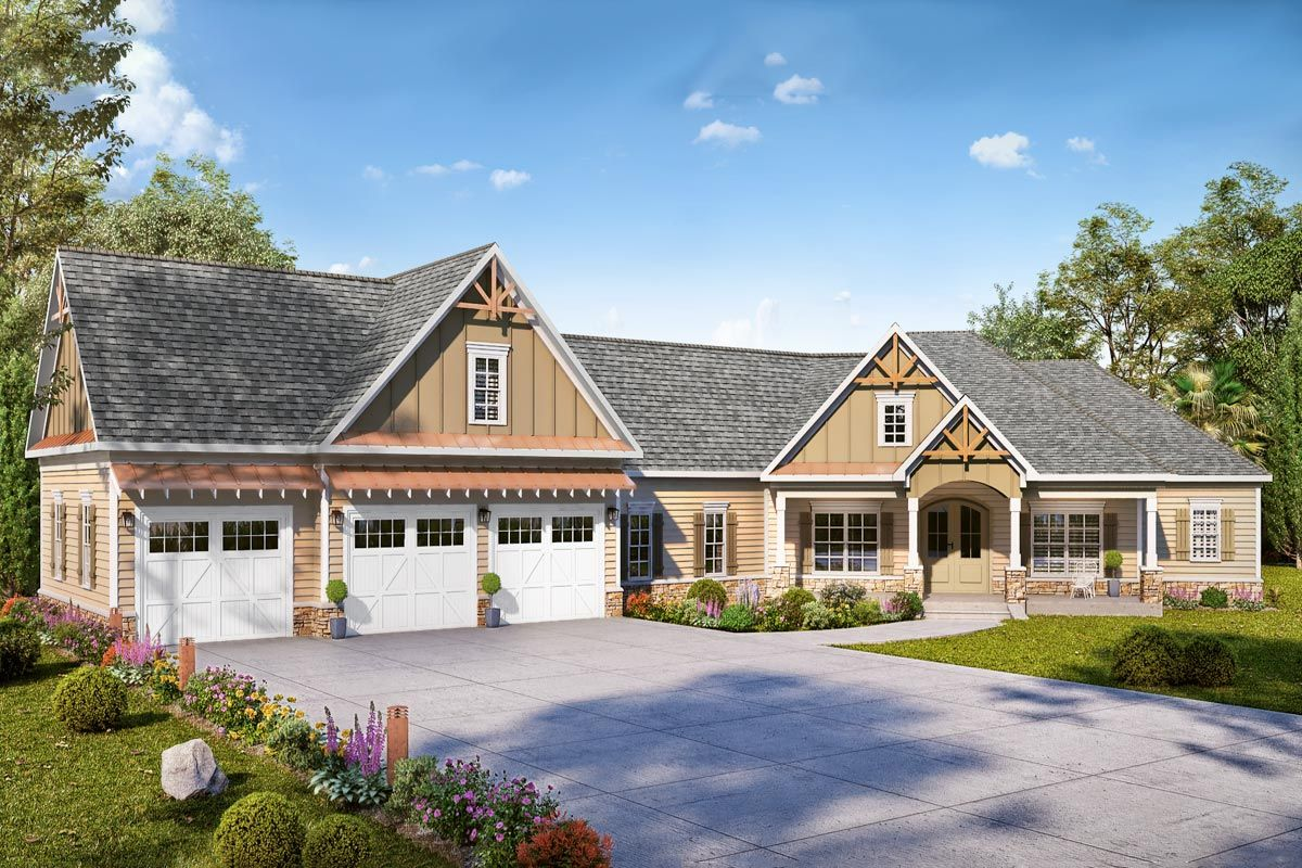 Plan 360042dk Expanded Country Craftsman Home Plan With 3 Car