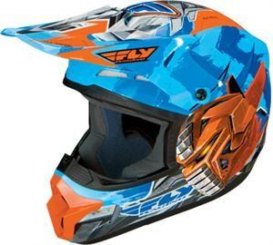 Fly Bot Youth Helmet Blue Orange Kids Motocross Helmet Kids Helmets Best Atv