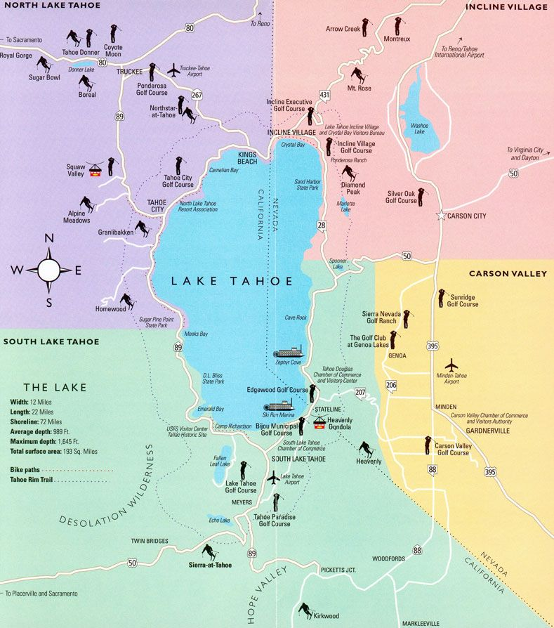 Lake Tahoe Map Regions Surrounding The Lake Ski Resorts Major - Lakes in california map