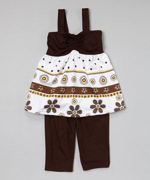 Another great find on #zulily! Brown Tiered Tunic & Capris - Infant, Toddler & Girls by G&J Relations #zulilyfinds