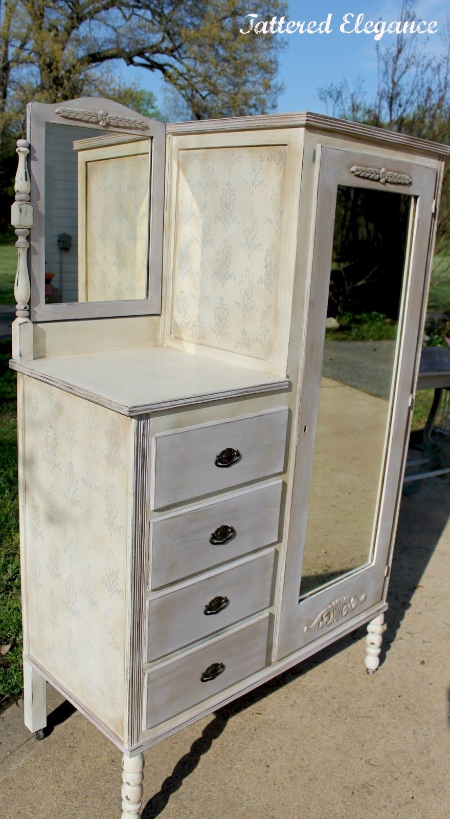 Furniture Chic White Painted Antique Chifferobe With